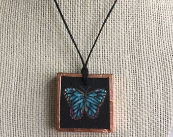 Mother's Day Blue butterfly necklace, Handpainted butterfly pendant, Unique butterfly jewelry, Artistic nature jewelry, Gift for her