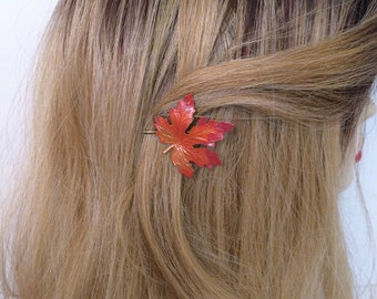 Maple leaf Bobby pin, Leaf hair pin, leaf hair jewelry