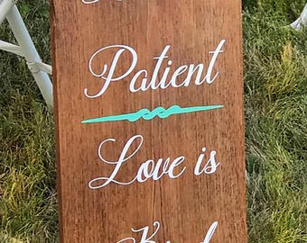 Love is Patient Aisle Signs, Set of 10, Love is Patient Signs, Corinthian Wedding Signs, Corinthians Aisle Signs, Love Is Wedding Decor