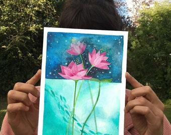 Watercolor Art. Pink Lotus Flower Wall Art. Water Lily painting. Pink Lotus Flower Print. Lotus Flower Art Print