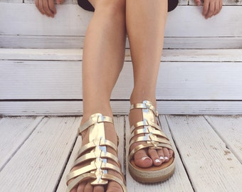 Gold Sandals, Gold Leather Sandals, Greek Sandals, Summer Shoes, Handmade In Greece from Genuine Leather by Christina Christi Jewels.