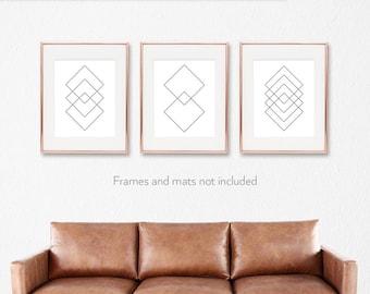 Abstract decor / Line prints / Print set / Set of 3 wall art / Set of 3 wall decor / Modern art prints /