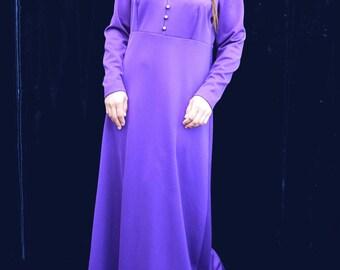 1970's dress 70's Vintage Dress Purple dress with Hood Long Sleeve Party Bohemian Boho Hippie Crimplene Maxi Dress large