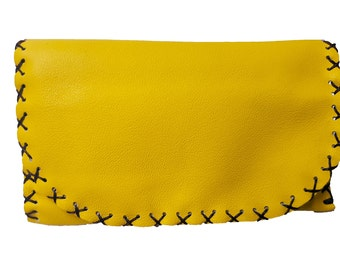 Leather Tobacco Pouch with Magnet | Yellow Tobacco Pouch | Bifold Tobacco Case | Tobacco Leather Bag | Up to 50gr