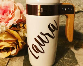 16 oz ceramic coffee mug with wooden handle. Monogrammed tumbler.