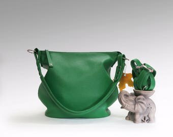 green Leather Bag minimalist shoulder bag leather handbag women simply emerald purse leather crossbody handmade hobo bag crossover handbag