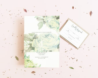 Greenery Wedding Invitation / Wedding Invitation / Wedding Invite / Vintage Invitation / Wedding Invites / Floral Wedding