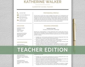 Teacher Resume Template for Word   Resume Teacher, CV Teacher, Elementary Resume, Teaching Resume