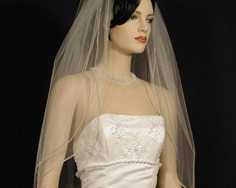 "30"" Double Tier Sparkling Wedding Veil with Rhinestone Banding"