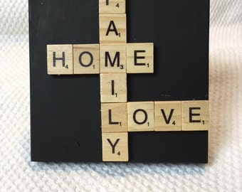 MINI Wall Art Scrabble Tile - 5x5 - Ready to Hang or Stand Alone  NEW!!  Home/Family/Love Hand Painted