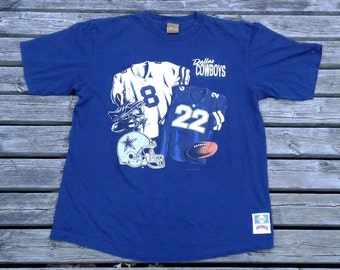 Vintage 1993 Dallas Cowboys / Troy Aikman / Emmitt Smitt / 90's double-sided t-shirt Made by Nutmeg Mills in the USA XL
