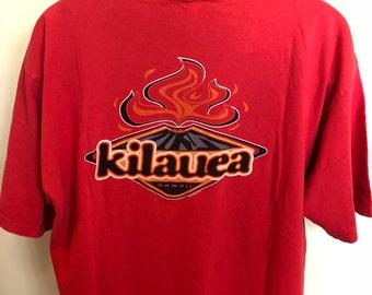 80s Hawaii Kilauea Crazy Shirt Vintage Tee Big Island Volcano Kona Oahu Waikiki Surf Outrigger Sail Sunset Vacation Aloha Red Cotton USA XL