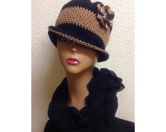 Made To Order Cloche Hat, Crochet Cloche Hat, Flower Hat, 1920s Hat, Color-Block Hat