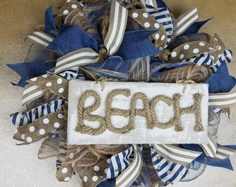 Inventory Sale .Beach wreath, Nautical wreath,  Coastal Wreath, Mesh wreath, Front door wreath, Beach decor, Coastal decor