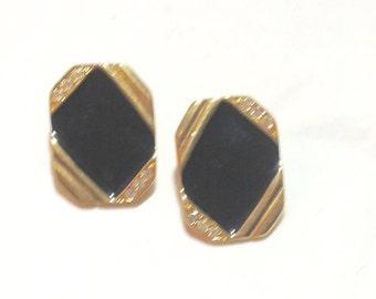 Vintage Black and Rhinestone Monet Clip Earrings