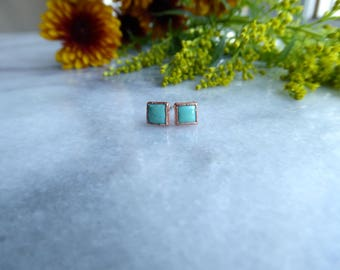 Kingman Turquoise Square Studs | Electroformed Earrings | Copper Jewelry | Turquoise Earrings