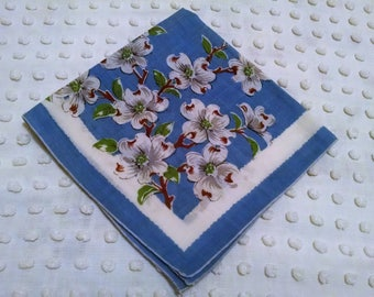 Charming Blue Floral Hankie Vintage Handkerchief White Dogwood Blossoms Flowers Wedding Shower Favor Tears of Joy Hanky Shabby Cottage Chic
