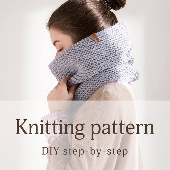 Knitting Tutorial For Beginners Pdf : Gray cowl infinity scarf pattern for beginners hooded