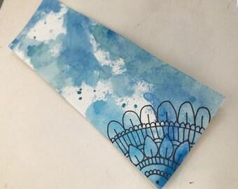 Blue Watercolor Mandala Bookmark