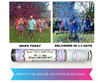 Gender Reveal Confetti Cannon| Gender Reveal Confetti Popper| Gender Reveal Ball Alternative| Gender Reveal Smoke Alternative| Balloon Alt