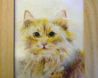 Original acrylic painting in his cat Dingge frame