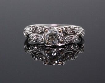 Antique Edwardian Platinum & Diamond Engagement Ring
