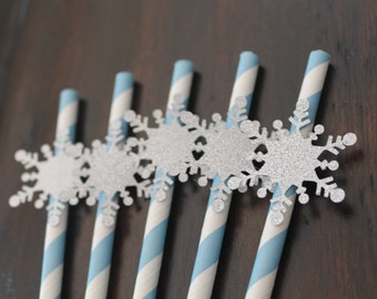 Winter Onederland straws, set of 10 | Snowflake straws | Winter birthday or baby shower decorations | Winter theme | Winter decorations