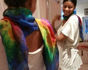 hand-painted silk scarf, unique rainbow garden design, red, blue, yellow, green, purple, orange, woman's silk scarf. shawl, wrap, sarong