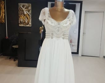 Anna Campbell style chiffon wedding dress