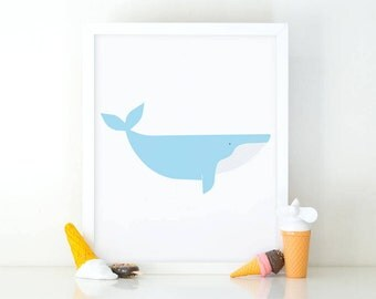 Whale print, whale Printable, Kids room Decor, printable art, Whale illustration, Baby blue whale, minimalist wall art, Instant download