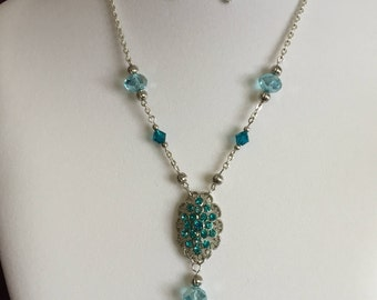 Turquoise Cluster Necklace and Earring Set
