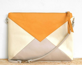 """""""WARNA wide"""" mustard, cream and pink leather clutch"""