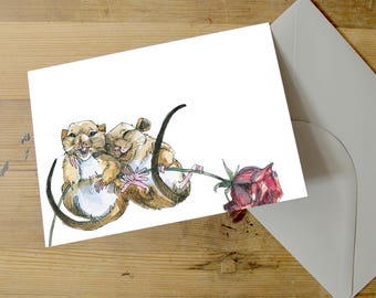 Field Mice | A5 Greetings Card | Anniversary | Love | Valentines | Wedding | Engagement | Gerbil | Mouse | Cute | Watercolour | Snowtap