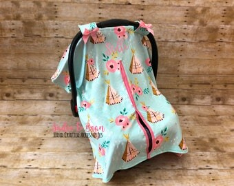 Carseat Canopy, Baby Car Seat Covers, Baby Gift, Baby Car Seat Canopy, Baby Shower Gift, Infant Car Seat Cover, Baby Carseat Cover, coral