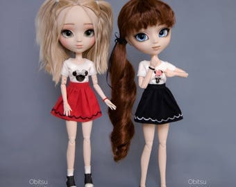 T-shirt with Mini mouse, skirt and bracelet for Pullip, Pure Neemo, Azone, Blythe, Dal, Obitsu 27 soft, Obitsu 23 dolls