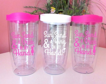 Sun Sand Drink in my Hand Ring on Tumbler/To Go Cup/Personalized Name/Gift for her/Summer/Girls/Beach cup/Pool/bridal party gift/cruise/cute