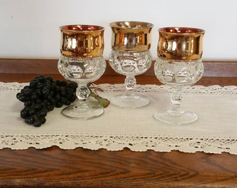 Goblets (3) Three Kings Crown Thumbprint, Gold Flashed, Indiana Water Wine Glass, Vintage Mid Century, Retro, Hollywood Regency
