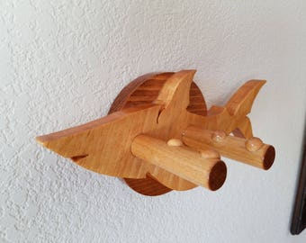 Ukulele wall mount hanger - Mako Shark - Oak on Walnut finish