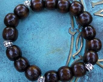 Men's Coconut Bead Stretch Bracelet, Brown Beaded Bracelet, Men's Bracelet, Mens Cuff Bracelet, Coconut Wood Bracelet, Mens Jewelry