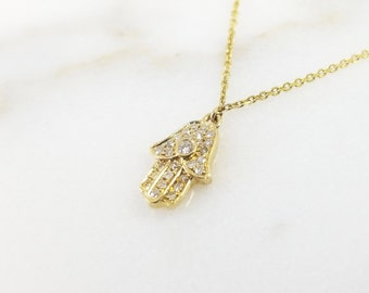 Dainty Gold & Diamond Hamsa Necklace