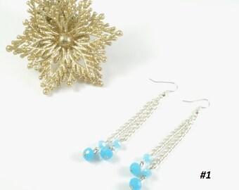 Blue Earrings Blue crystal earrings blue stone silver earrings blue  bead chain earrings long earrings cheap earrings navy blue earring gift