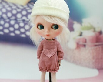 Miyoni Blythe Clothes Ivory Pompoms Woolly Beanie
