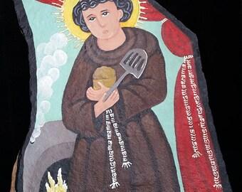 San Pascual Bailon - flagstone retablo, OOAK painting.