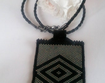 rectangular pendant beadwork, gift for MOM, for my girlfriend on Valentine's day, necklace 44 cm in length