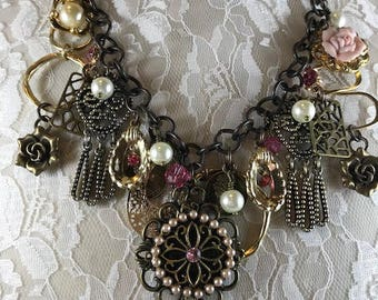Statement Necklace, Repurposed Necklace, Assemblage Necklace, One of a Kind Charm Necklace