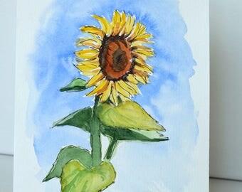 Sunflower Art/Sunflower Painting/Sunflower Watercolor/Sunflower Wall Art/Original Painting/Original Art/Sunflower Gift/Sunflower/Watercolor