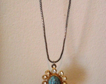 Victorian glass turquoise egg  victorian, VINTAGE  necklace