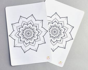 Flower mandala full A5 page coloring planner sticker
