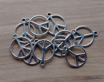 10 x Zinc Alloy Silver Peace Signs Charms for Jewellery Making