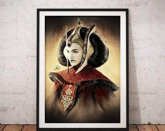 Padme Amidala, Natalie Portman, Star Wars, Artwork, Handmade, Printable Art, Poster, Instant Download, Digital Print, Home Decor, Wall Art